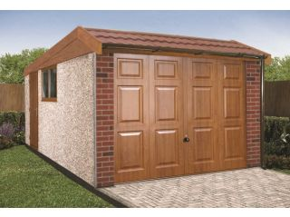 This model shows golden oak and autumn red front posts