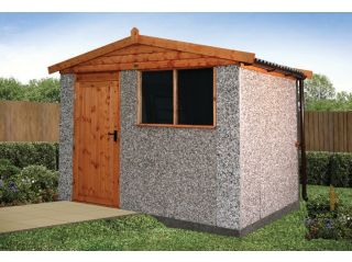 A 10' x 8' Apex Spar shed with optional Deluxe timber door