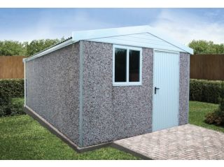 """An extra-high Apex Deluxe shed, 7'6"""" eaves"""