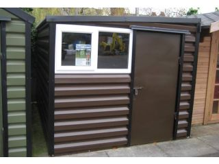 An 8ft wide pent model with standard white window frame