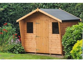 An 8ft x 6ft Popular Cabin with a left-hand hinged door