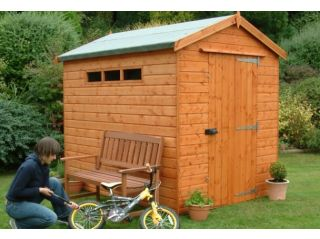 A standard 8x6 Security Apex shed