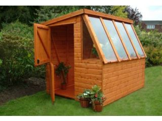 An 8'x6' Supreme Potting Shed in standard factory dipped finish